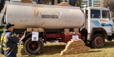 Hallaron más de 5.000 kilos de marihuana en un camión cisterna