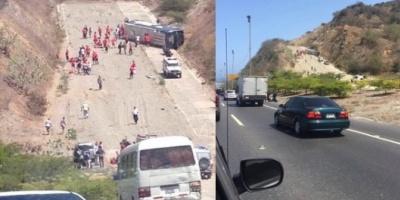 Volcó el micro que trasladaba a los jugadores de Huracán al aeropuerto de Caracas
