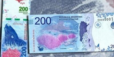 Se distribuyó a todo el país el nuevo billete de $200 con la ballena