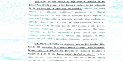 Advierten que un faltante de 1.500 armas de la Policía de Córdoba podría estar en poder de bandas de Brasil